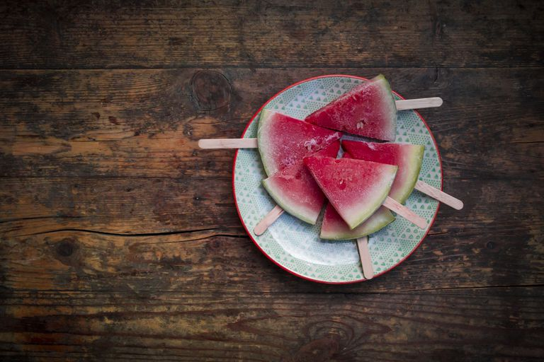Plate of watermelon popsicles