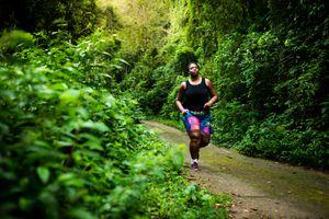 Brazilian woman exercising in nature