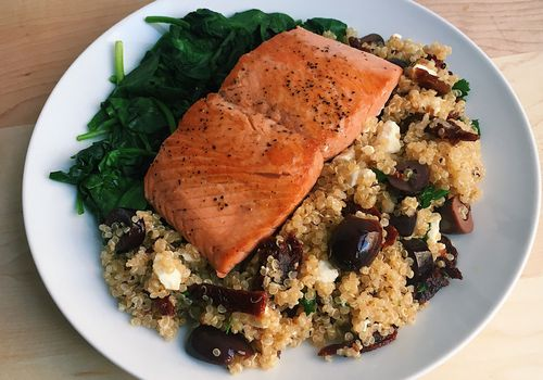 pan-seared salmon with mediterranean quinoa