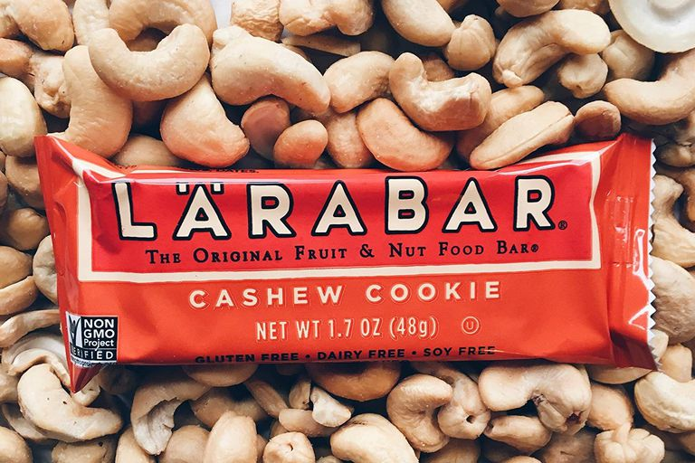 Cashew cookie Larabar sitting on cashews