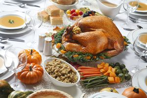 A table laden with a gluten-free thanksgiving dinner