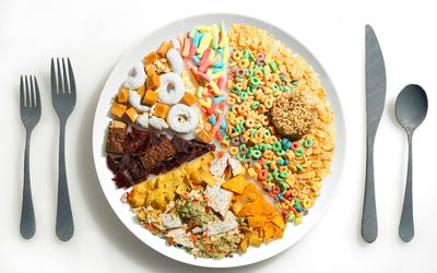 Plate setting with pie chart with processed foods