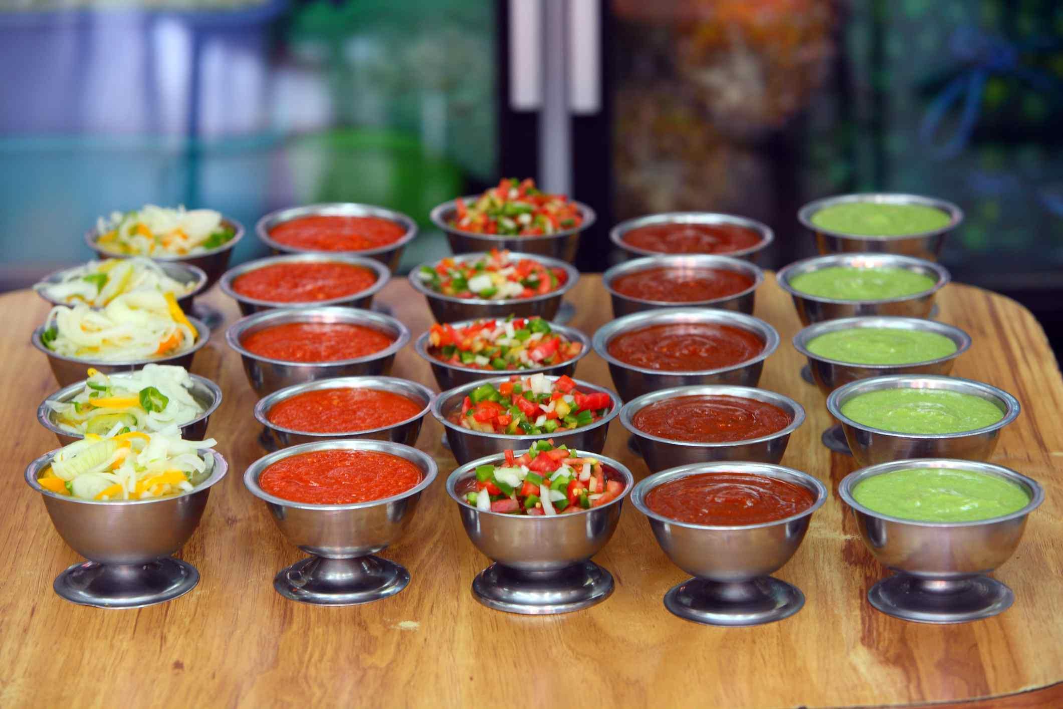 salsas at a mexican restaurant