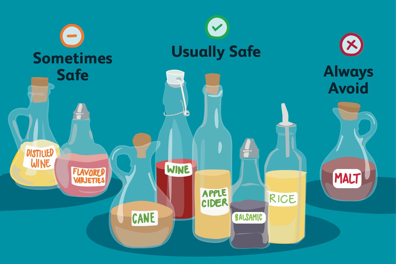 ¿Qué tipo de vinagre no contiene gluten?