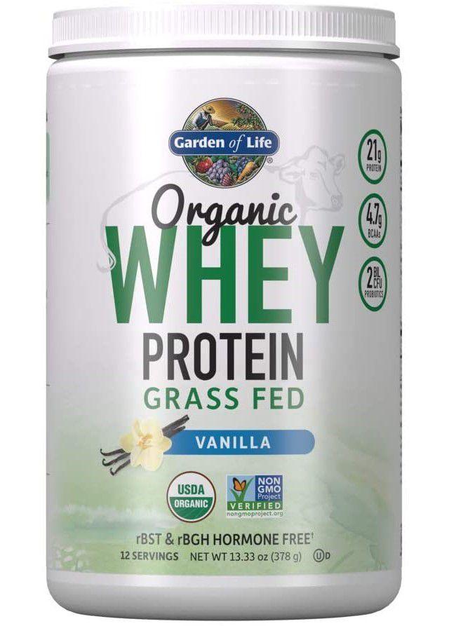 Garden of Life Certified Organic Grass Fed Whey Protein Powder Vanilla