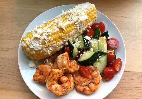 spicy grilled shrimp with elote