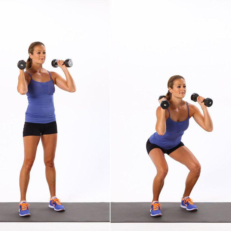 woman demonstrating a shoulder squat with dumbbells