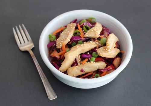 Low-FODMAP Cole Slaw With Teriyaki Chicken