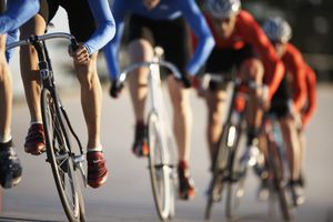 Road cyclists in a line