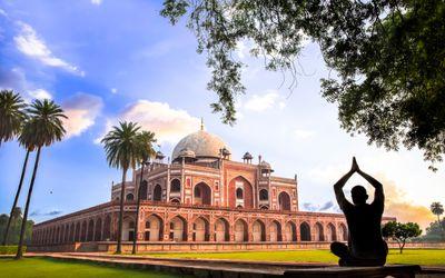 Yoga at Humayun's Tomb, Delhi, India