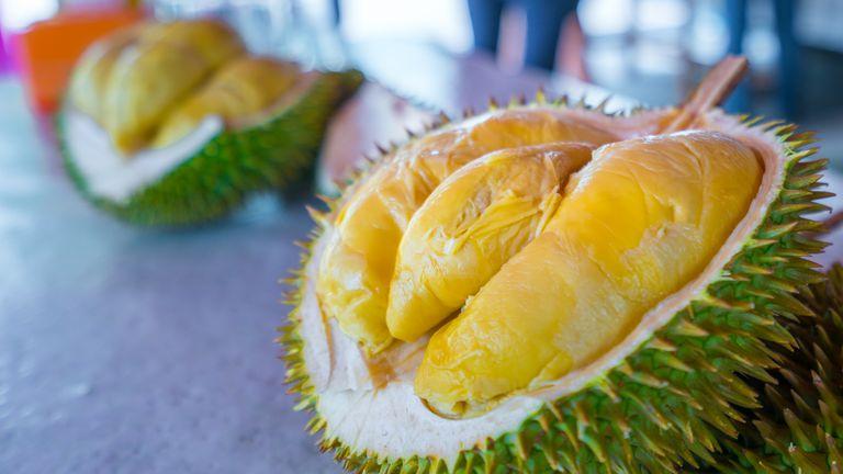 Close-up shot of a durian fruit