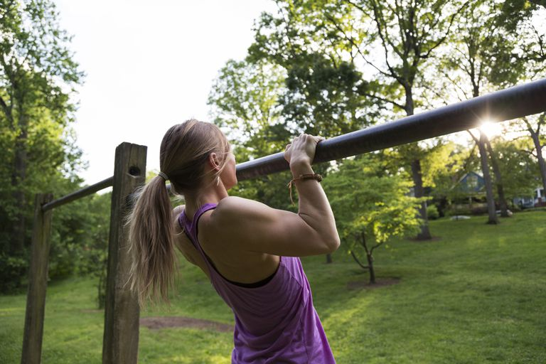 Woman doing pull-up