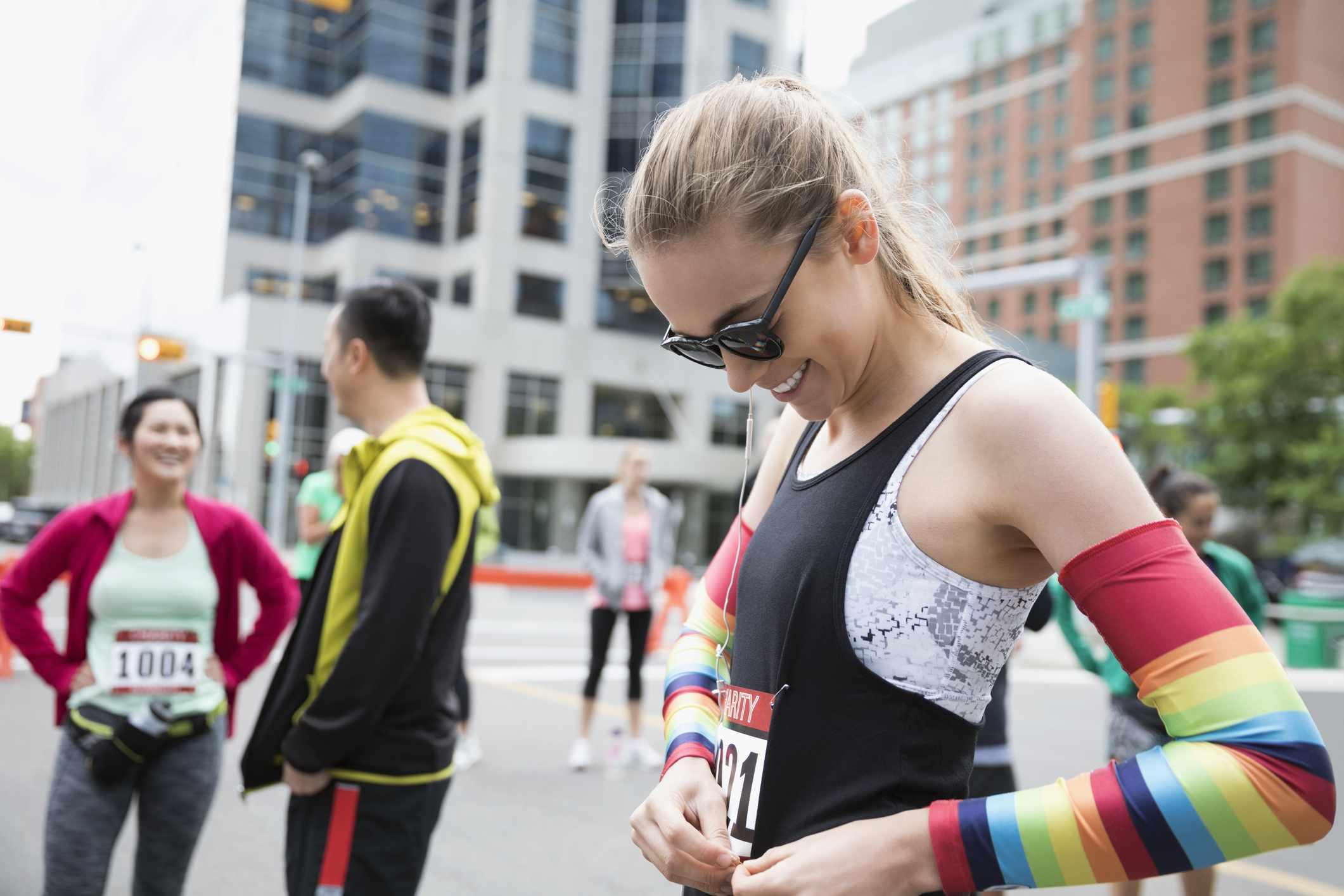 marathon runners preparing for race