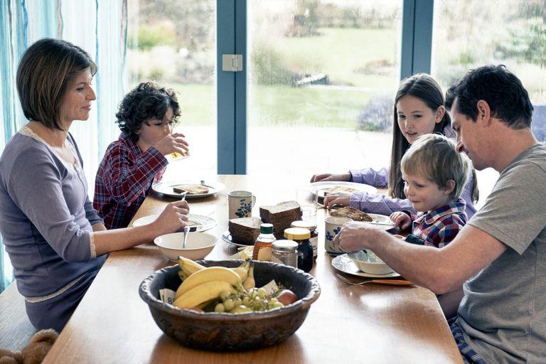 Family eating breakfast
