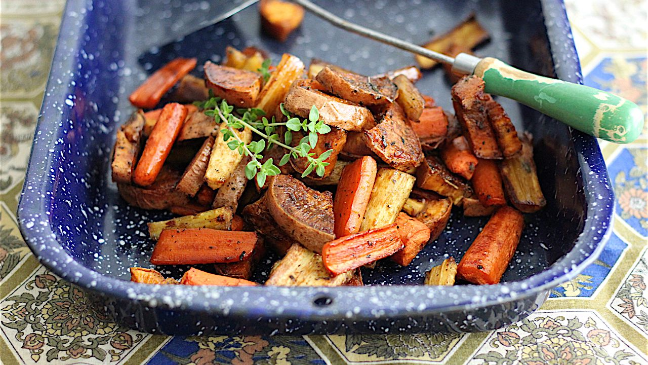 Sweet And Tangy Maple Roasted Root Vegetables