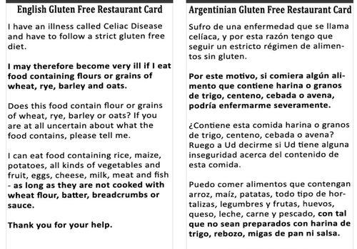 aplicación de tarjetas de restaurante sin gluten