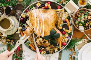 Turkey and side dishes on thanksgiving table