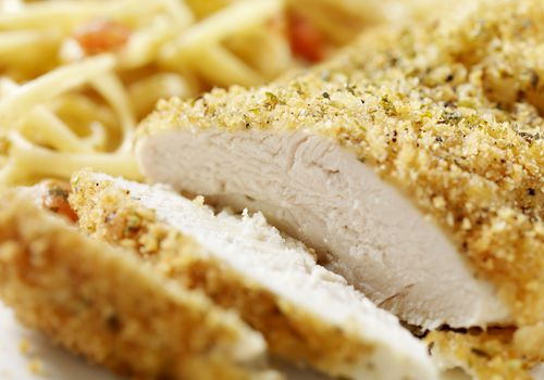 Breaded Chicken Breast with Linguine