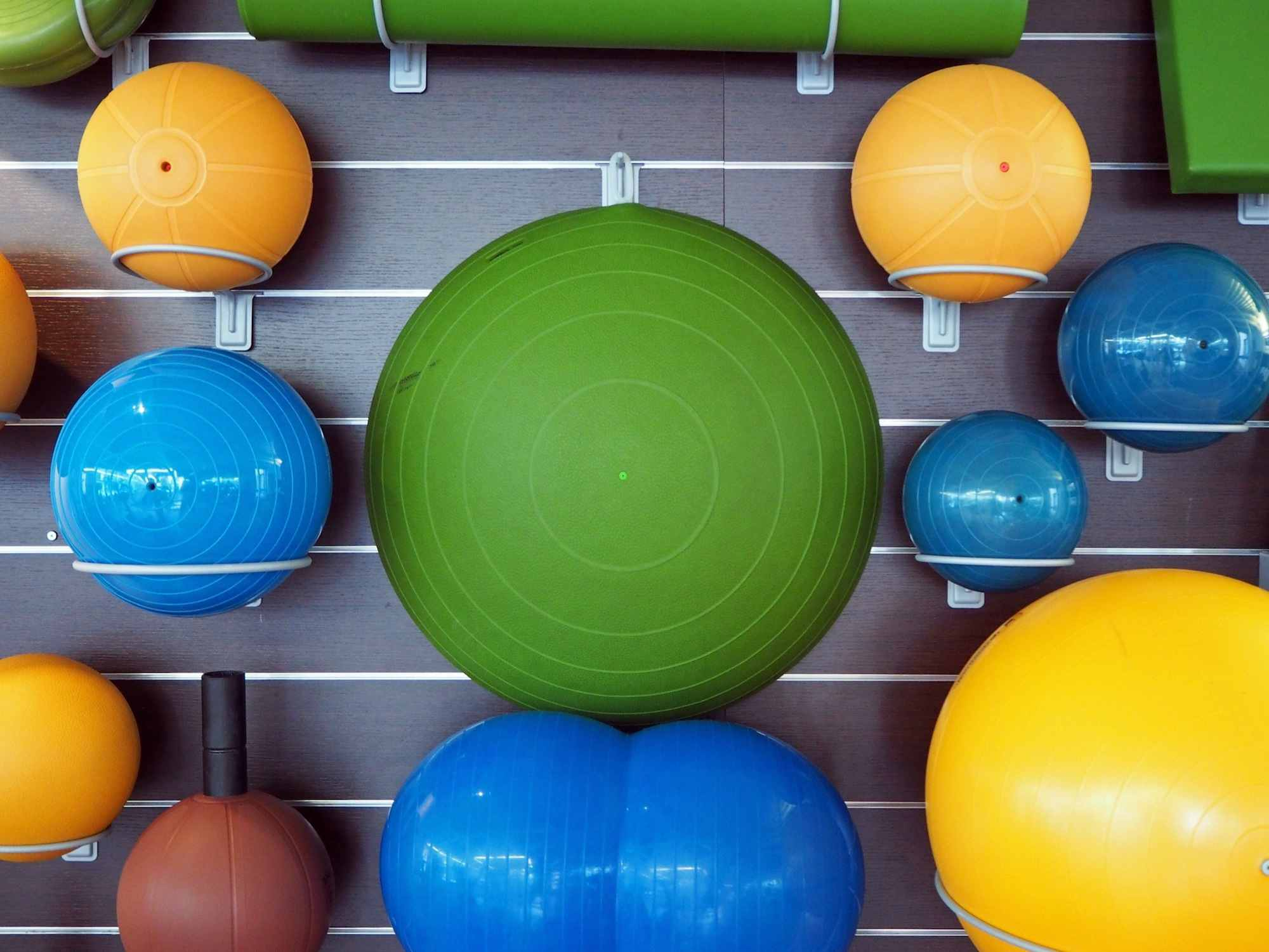 Fitness Balls Arranged In Gym