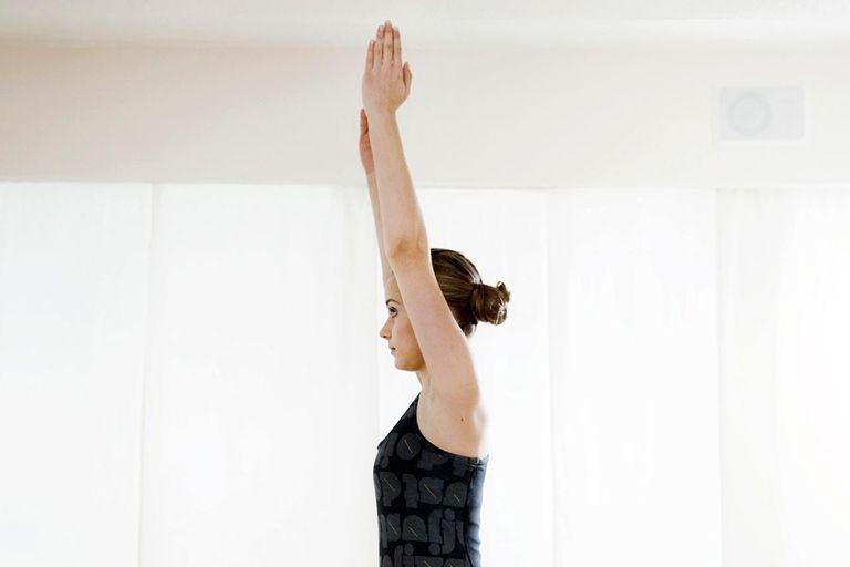 Teenage girl doing gymnastics