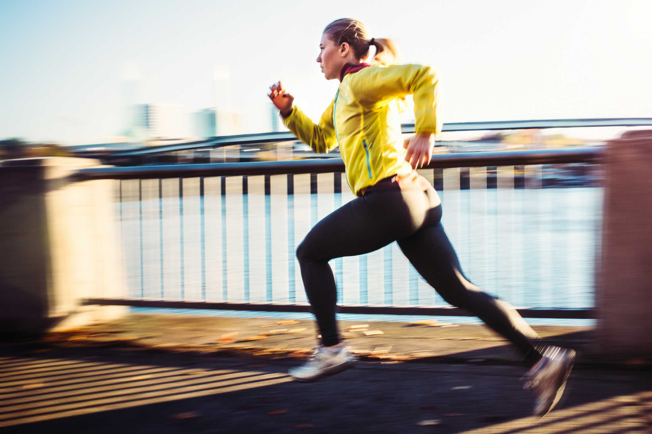 woman doing sprints for high intensity interval training