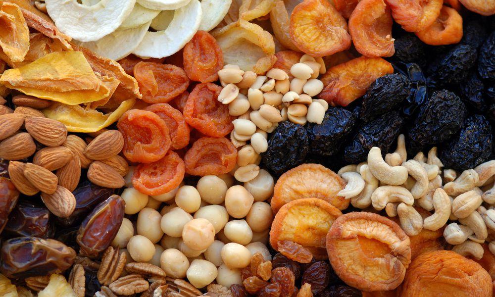 An assortment of dried fruits