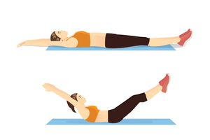 Exercise guide by Woman doing Hollow Body Hold in 2 steps on blue mat