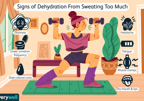 Woman working out and sweating