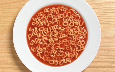 a close up of alphabet pasta