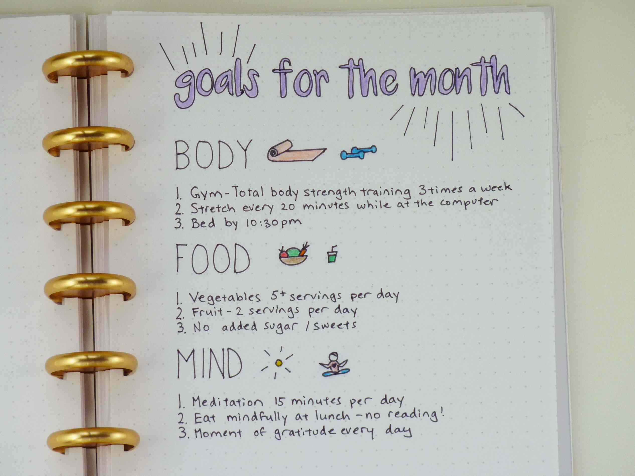 using a bullet journal for health and fitness goals