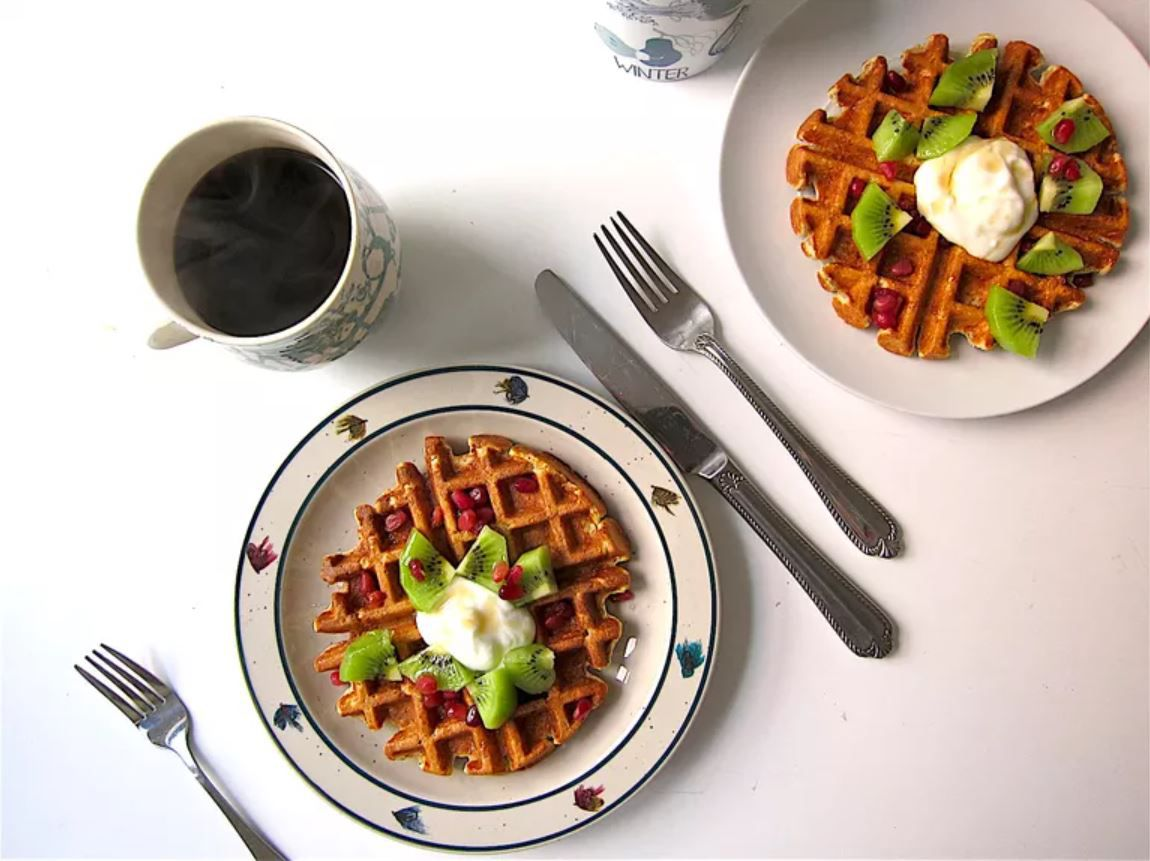 Plate of waffles topped with fruit and a cup of coffee