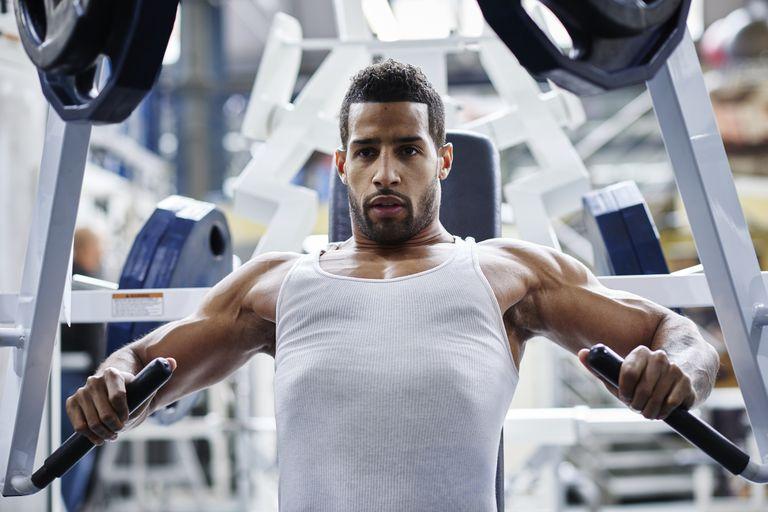 Bodybuilders training.