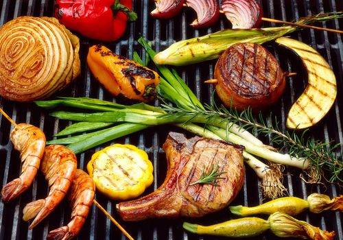 Grilled meats and vegetables