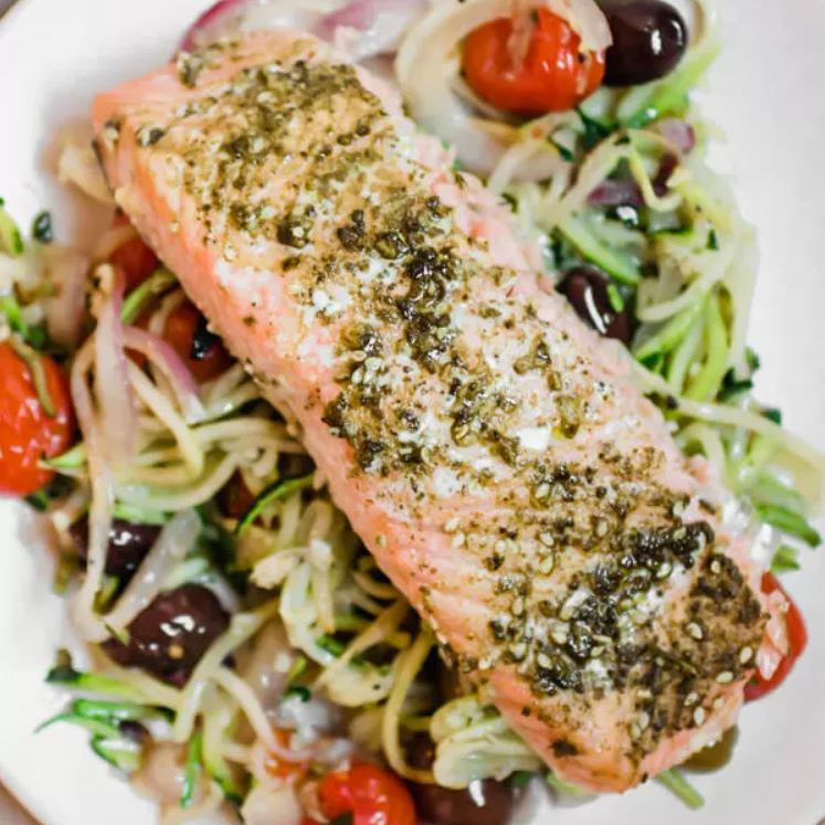 Roasted salmon with zoodles