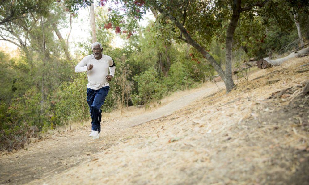 older man going for a run