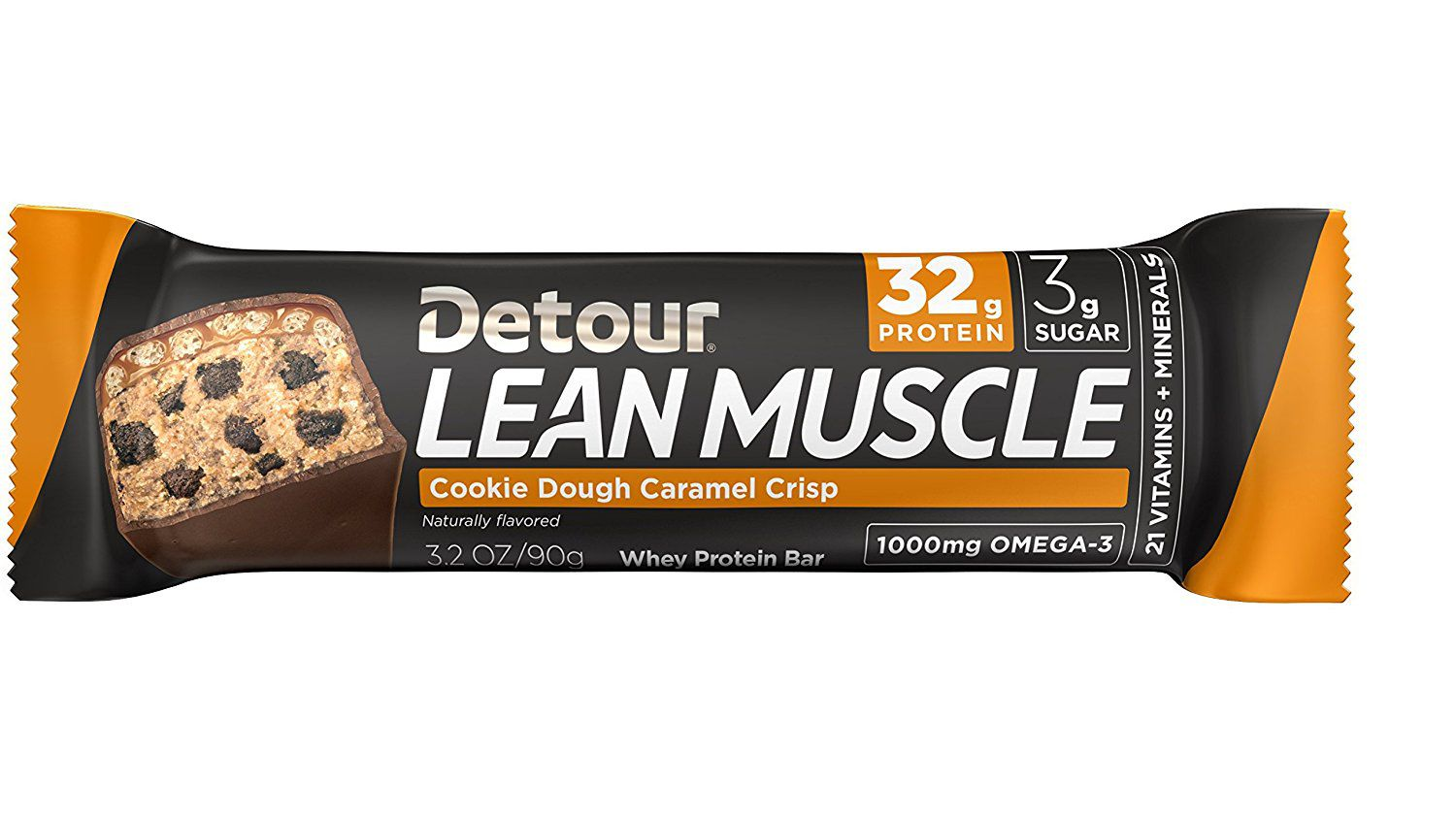 Best Overall Detour Lean Muscle Whey Protein Bar Cookie Dough Caramel Crisp