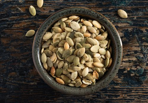 Green Pepita Seeds in a Bowl