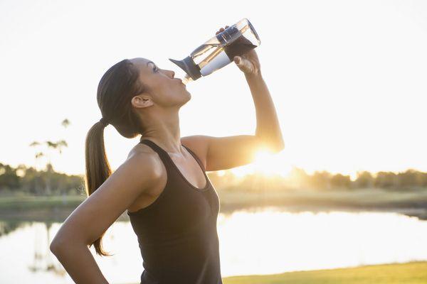 Drinking Water from Water Bottle