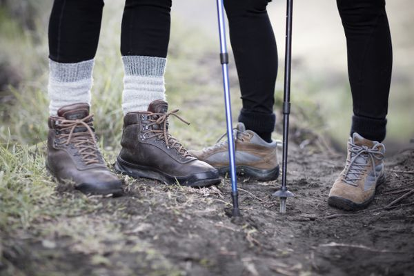 Close up of two hikers' boots.