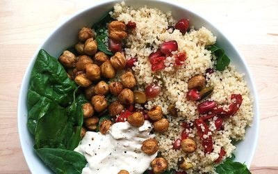 jeweled couscous and chickpea bowl