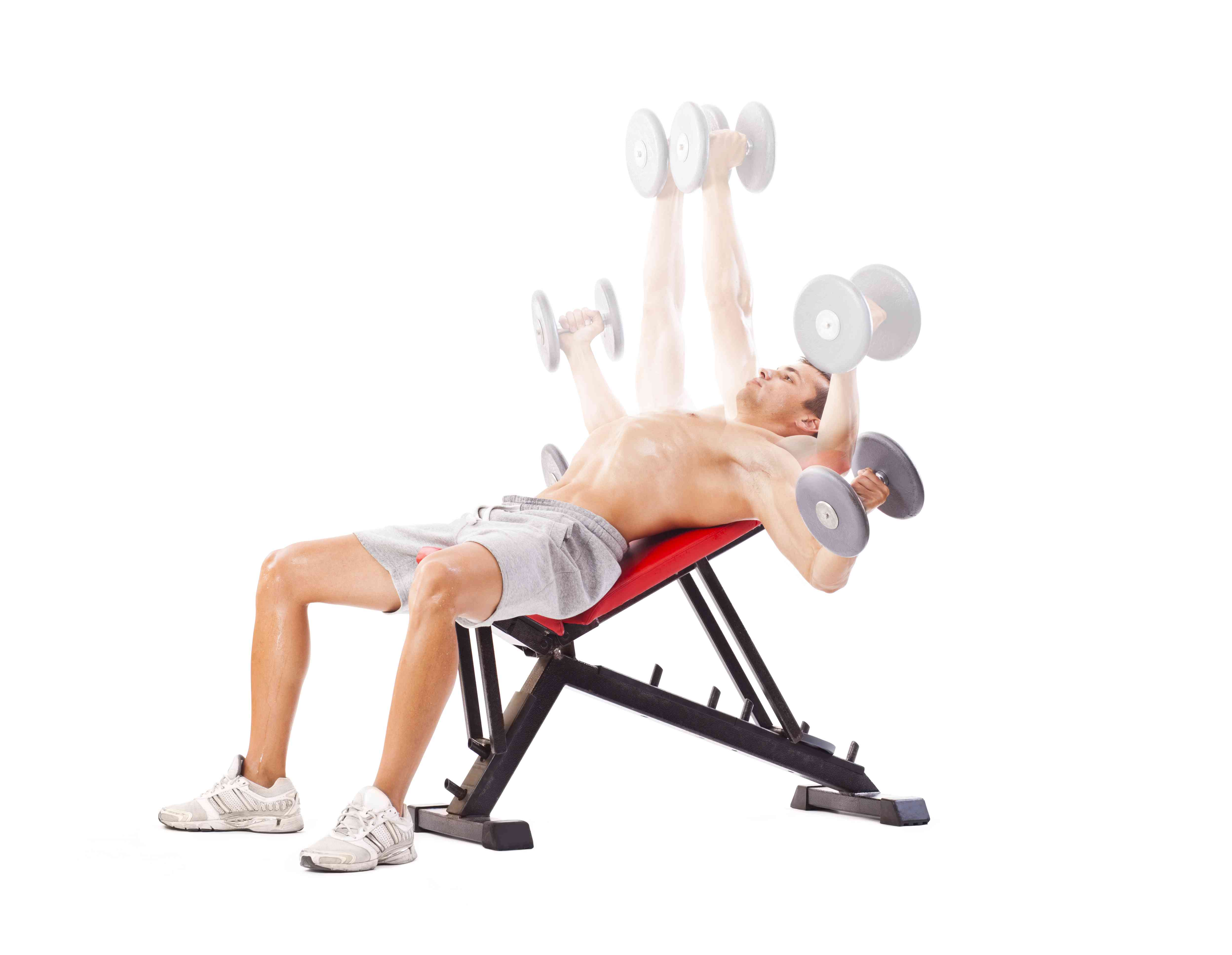 Dumbbell fly on incline bench, steps.