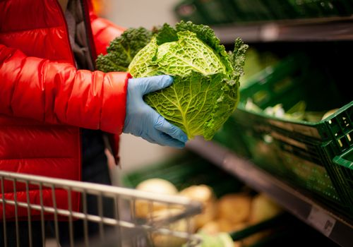 person holding a head of cabbage wearing rubber gloves and a red jacket