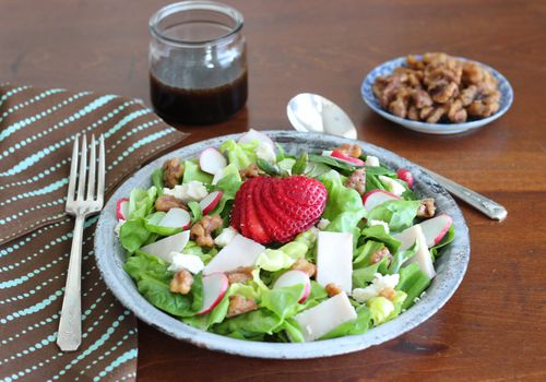 green strawberry salad