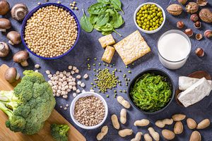 Plant-based protein options including soybeans