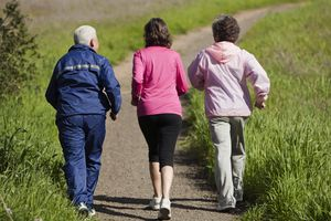 Senior Women Walking on Hill