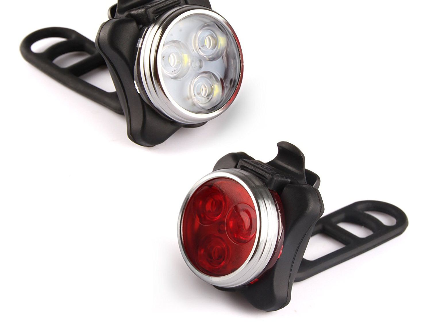 New Waterproof 5 White LED Front Head Lamp /& 5 Red LED Rear Tail Bike Light Set