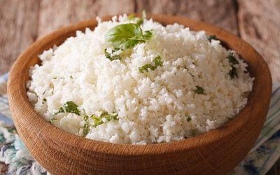 Cauliflower rice with herbs close-up