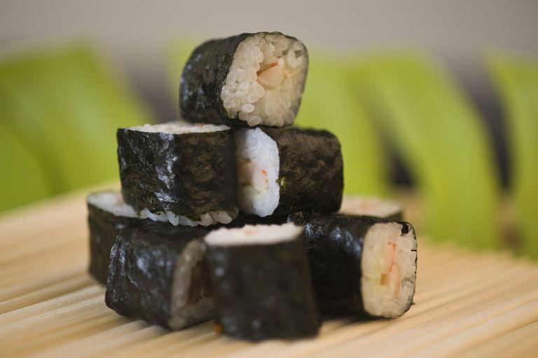 Sushi wrapped in nori sheets