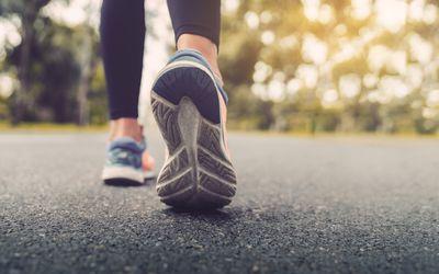Woman wearing walking shoes