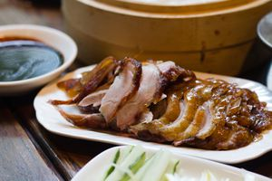 cooked duck served on a platter